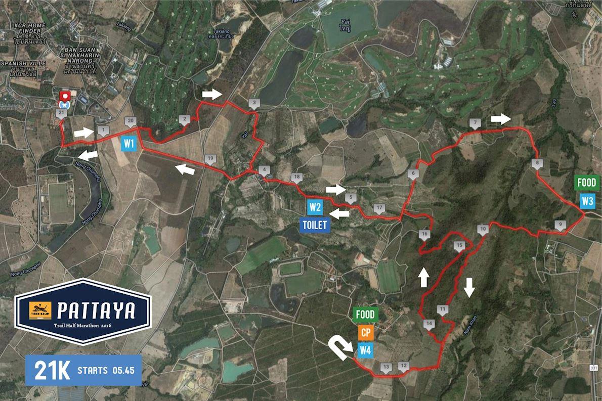 Pattaya Trail Half Marathon Mappa del percorso