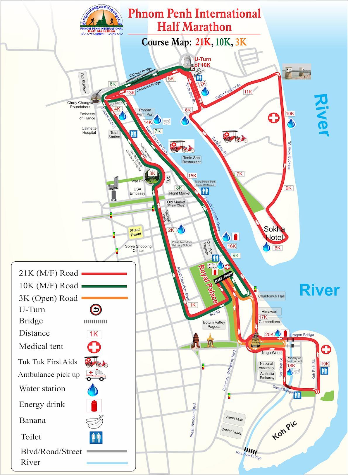 Phnom Penh Half Marathon Route Map