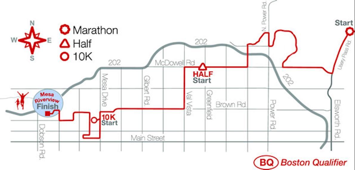 Mesa Marathon Mappa del percorso