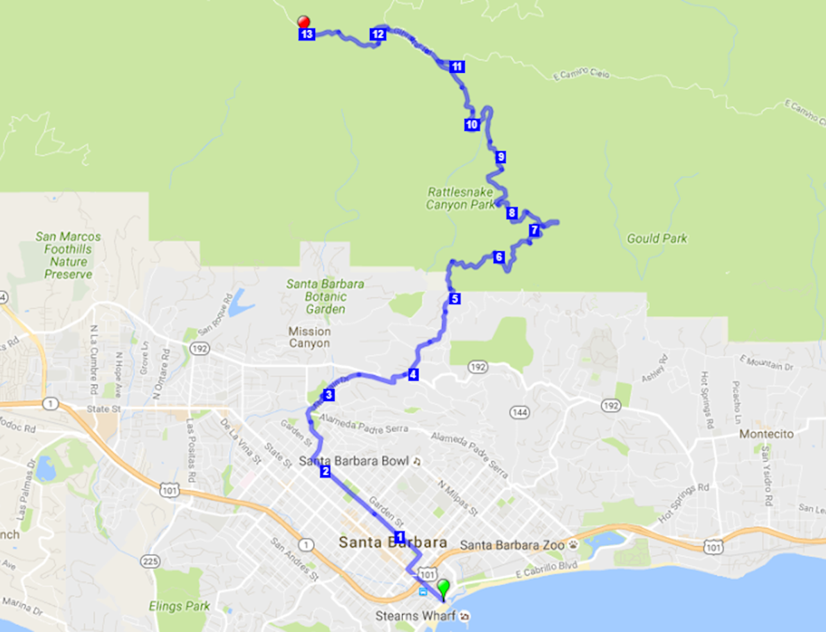 Pier to Peak Half Marathon Route Map