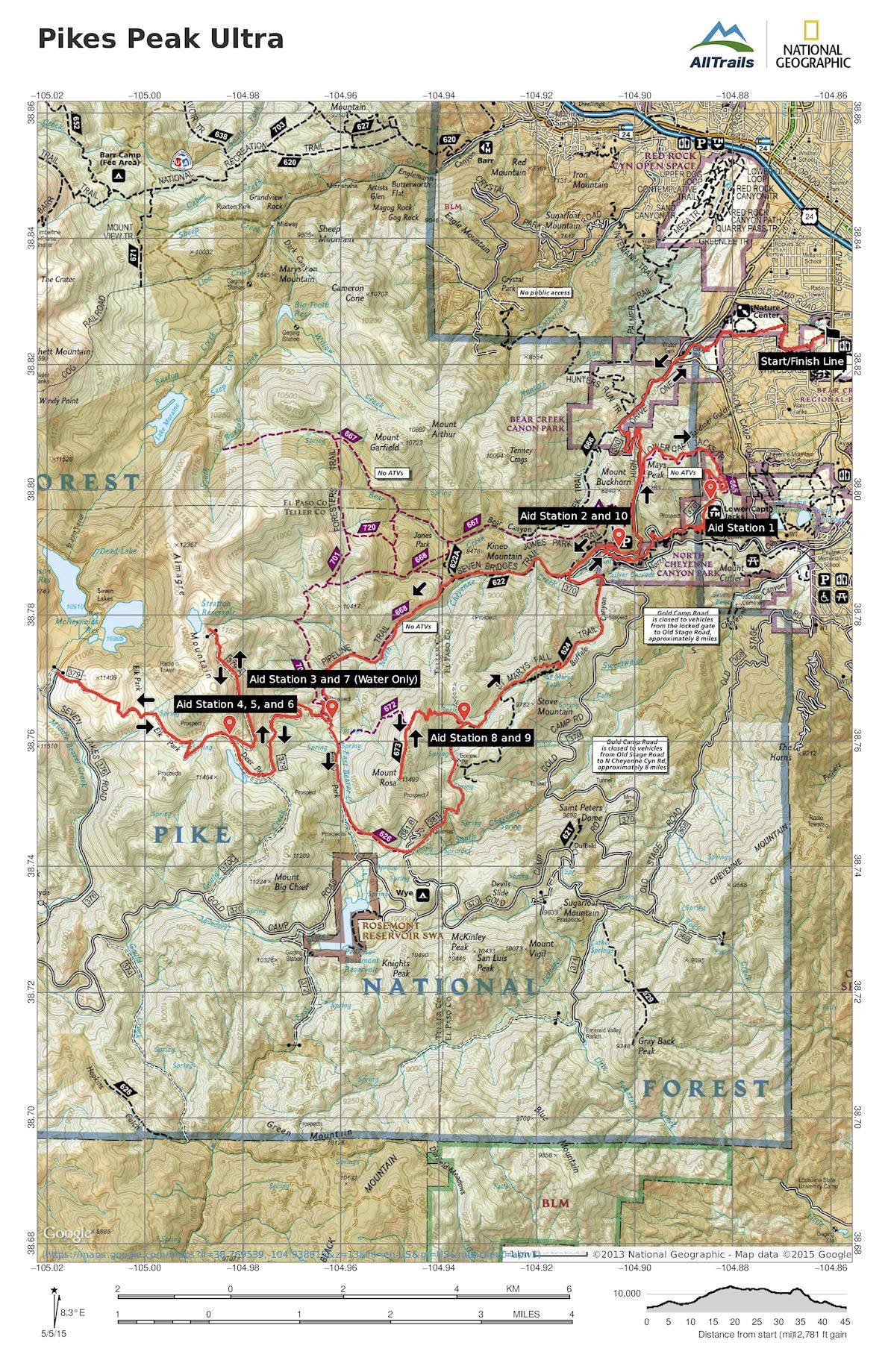 Pikes Peak Ultra Routenkarte