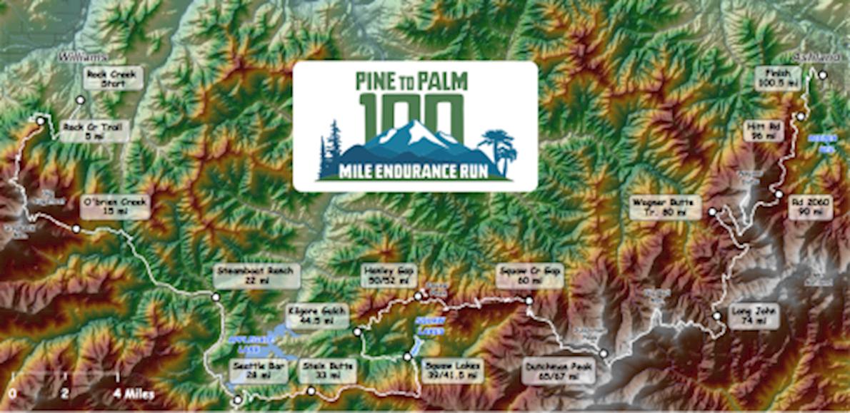 Pine to Palm 100 Mile Endurance Run Mappa del percorso