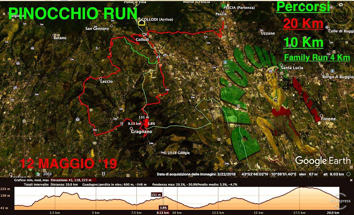 Pinocchio Run Mappa del percorso