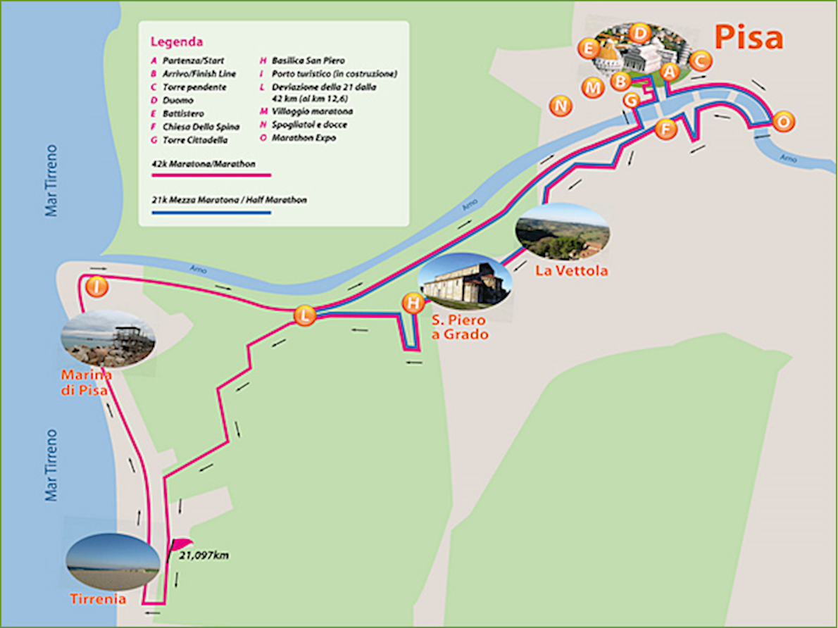 Pisa Marathon Route Map