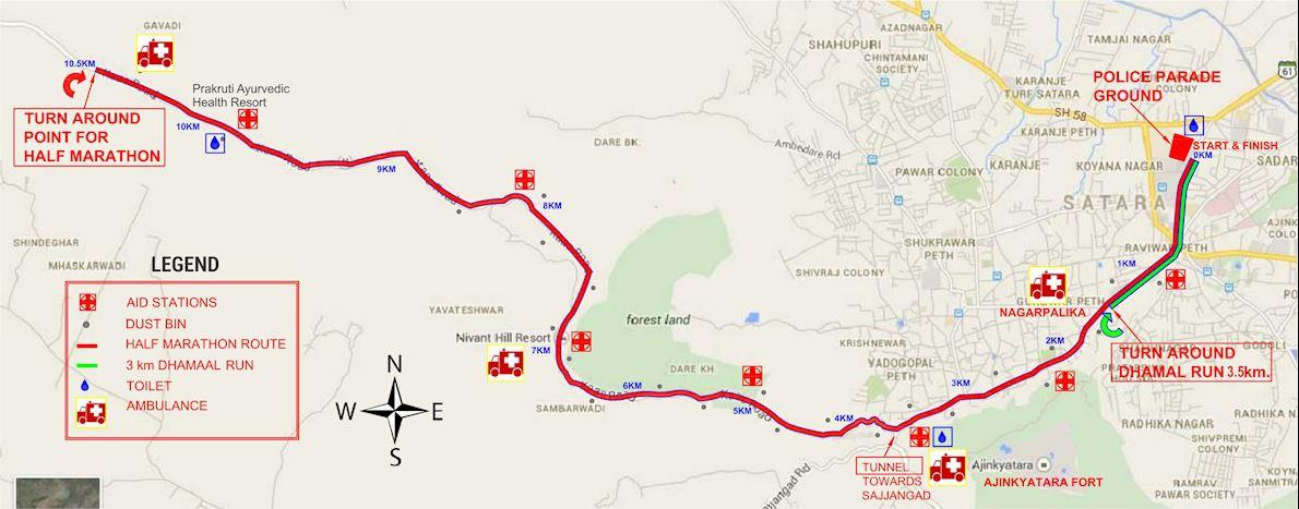 PNB MetLife Satara Hill Half Marathon MAPA DEL RECORRIDO DE
