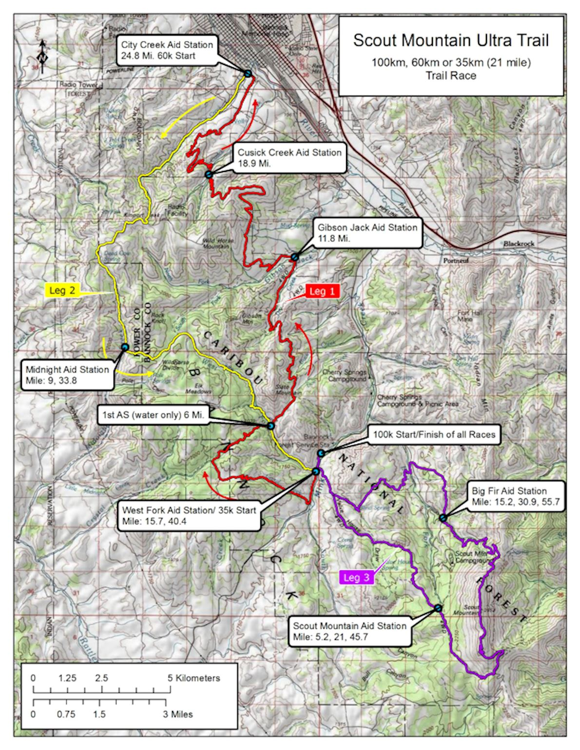 Scout Mountain Ultras Route Map