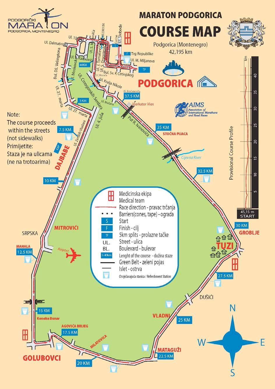 Podgorica Marathon Route Map