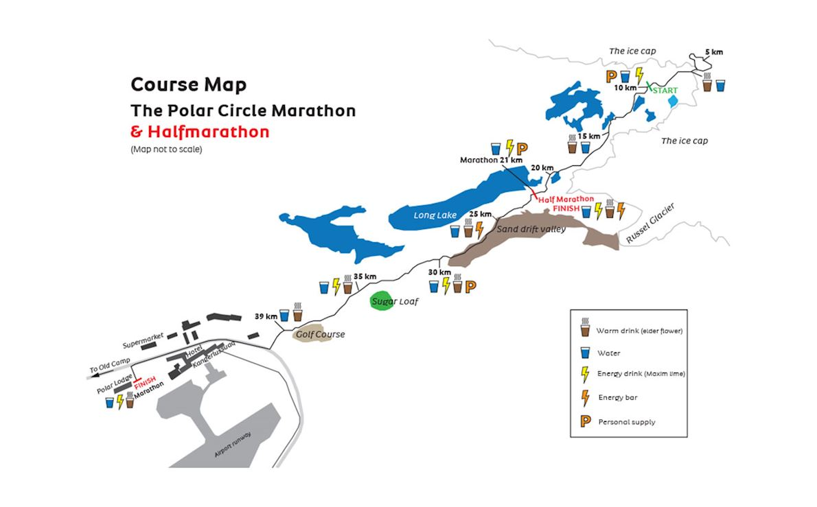 Polar Circle Marathon® and Half Marathon 路线图
