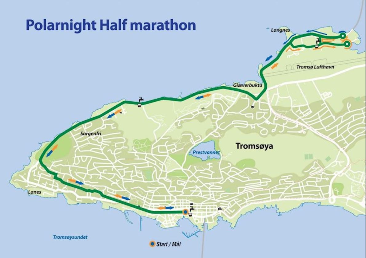 Polar Night Halfmarathon Route Map