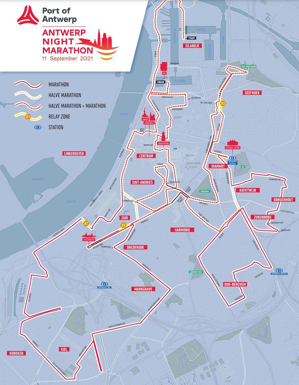 Port of Antwerp Night Marathon  MAPA DEL RECORRIDO DE