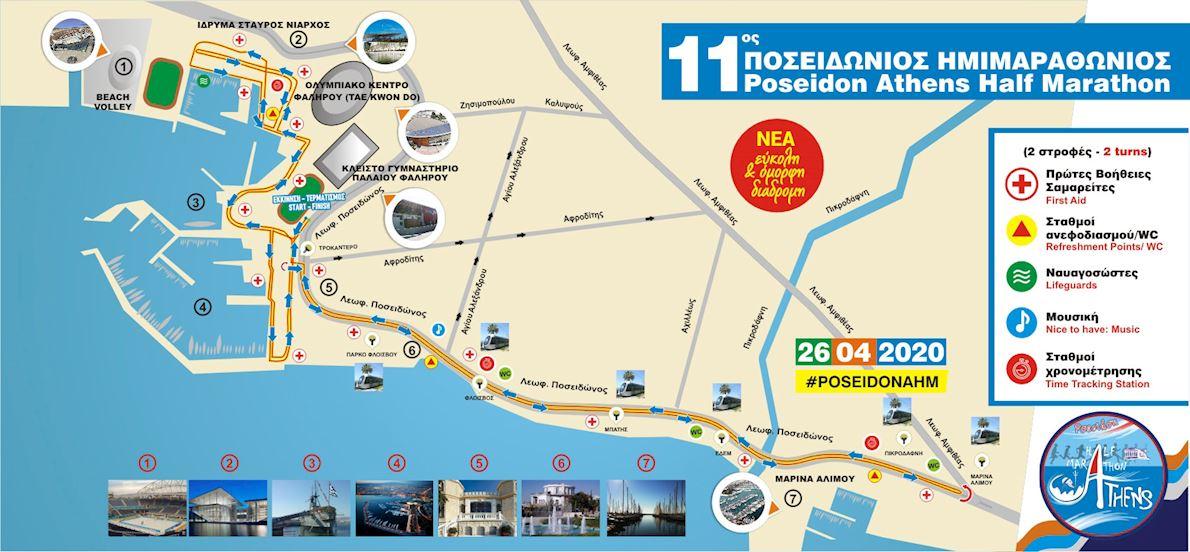 Poseidon Athens Half Marathon Routenkarte