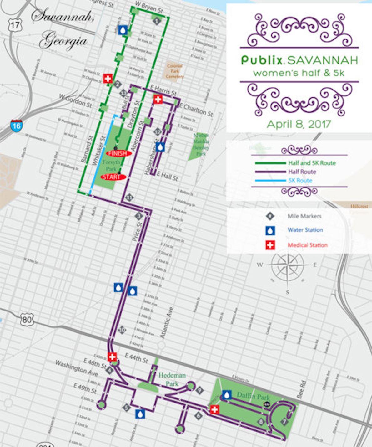 Publix Savannah Women's Half Marathon & 5K MAPA DEL RECORRIDO DE