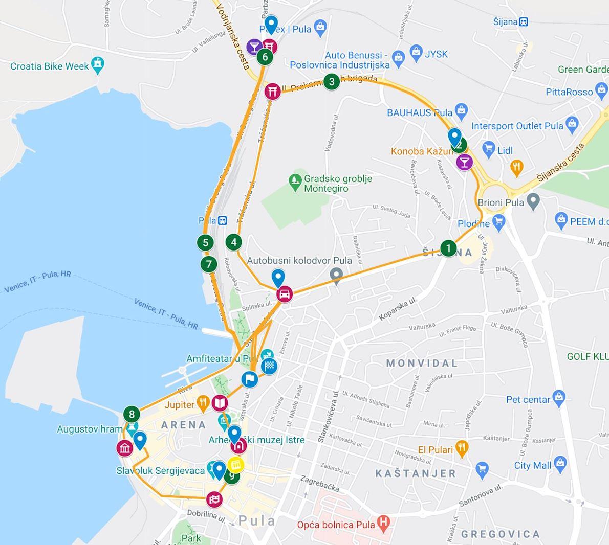 Pula Marathon 路线图