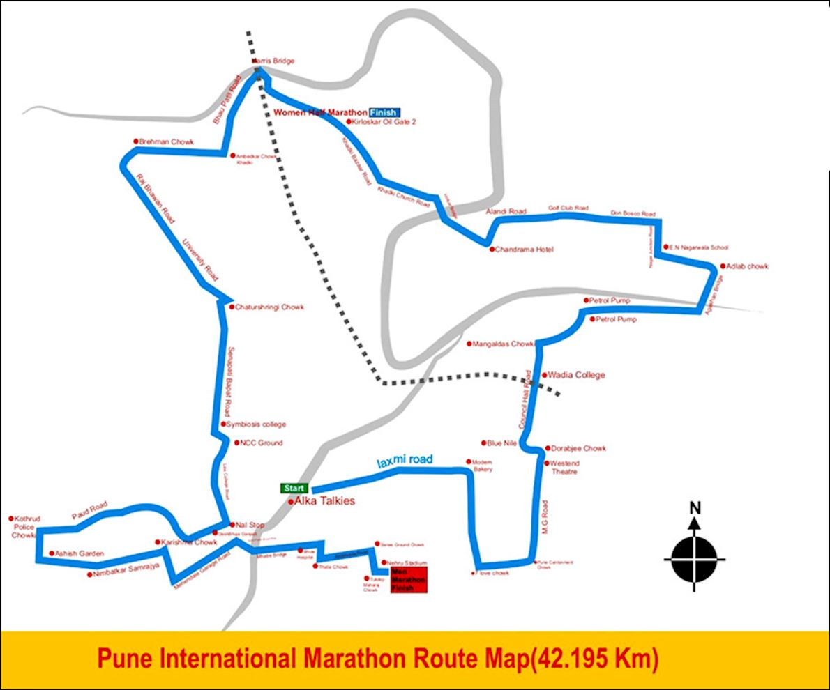 Pune International Marathon Mappa del percorso