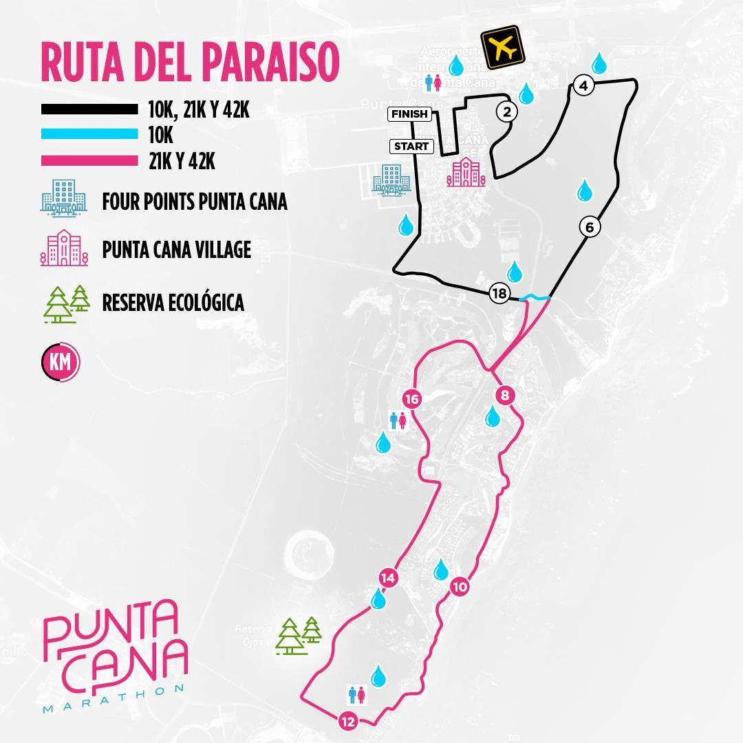 Punta Cana Marathon Mappa del percorso