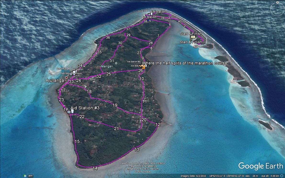 Pursuit in Paradise Aitutaki Marathon Mappa del percorso