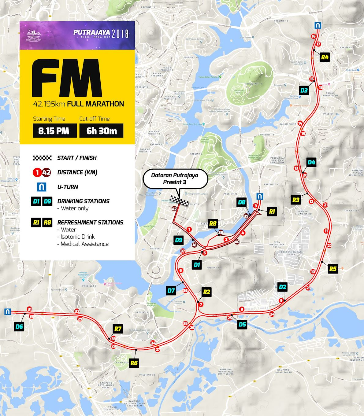 Putrajaya Night Marathon Routenkarte