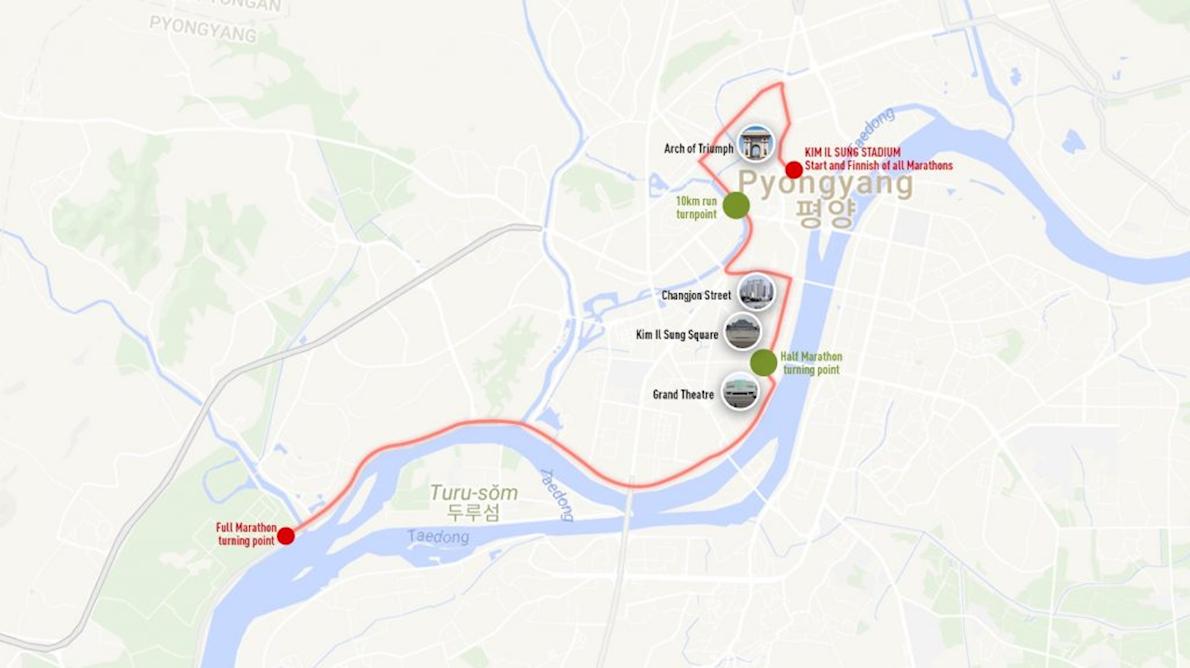 Pyongyang Marathon Mappa del percorso