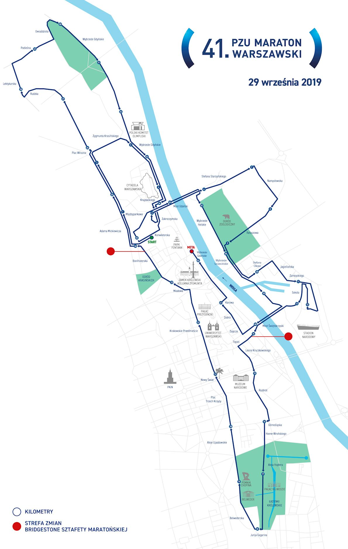 PZU Warsaw Marathon Route Map