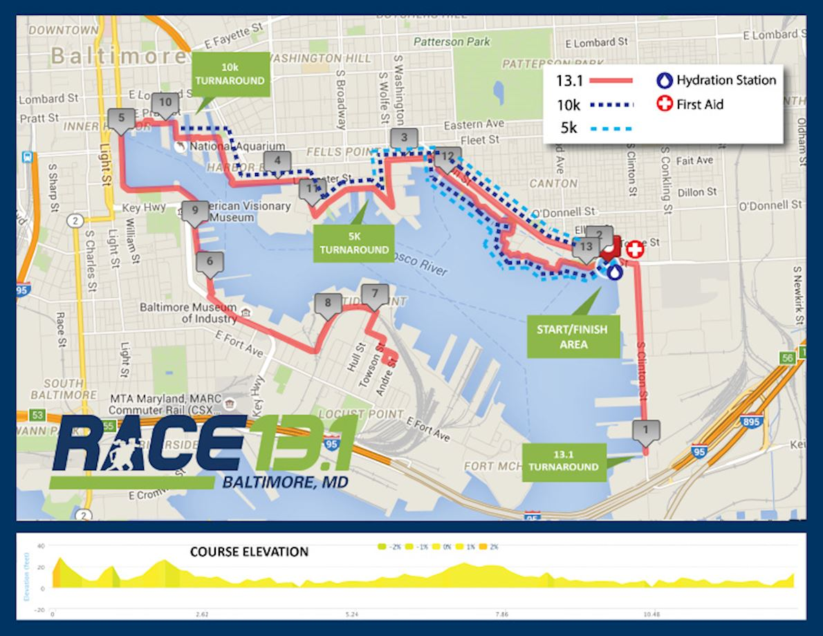 Race 13.1 Baltimore, MD 路线图