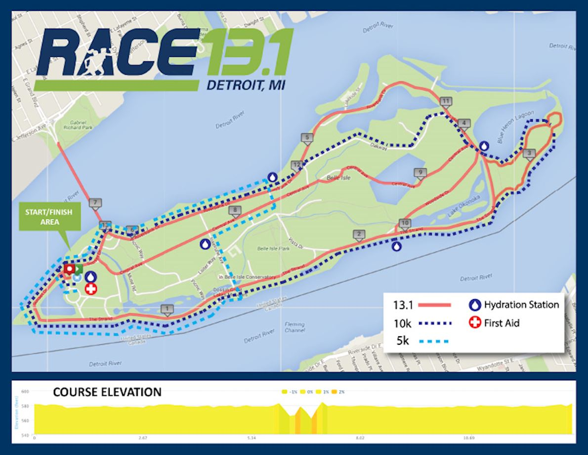 Race 13.1 Detroit, MI Route Map