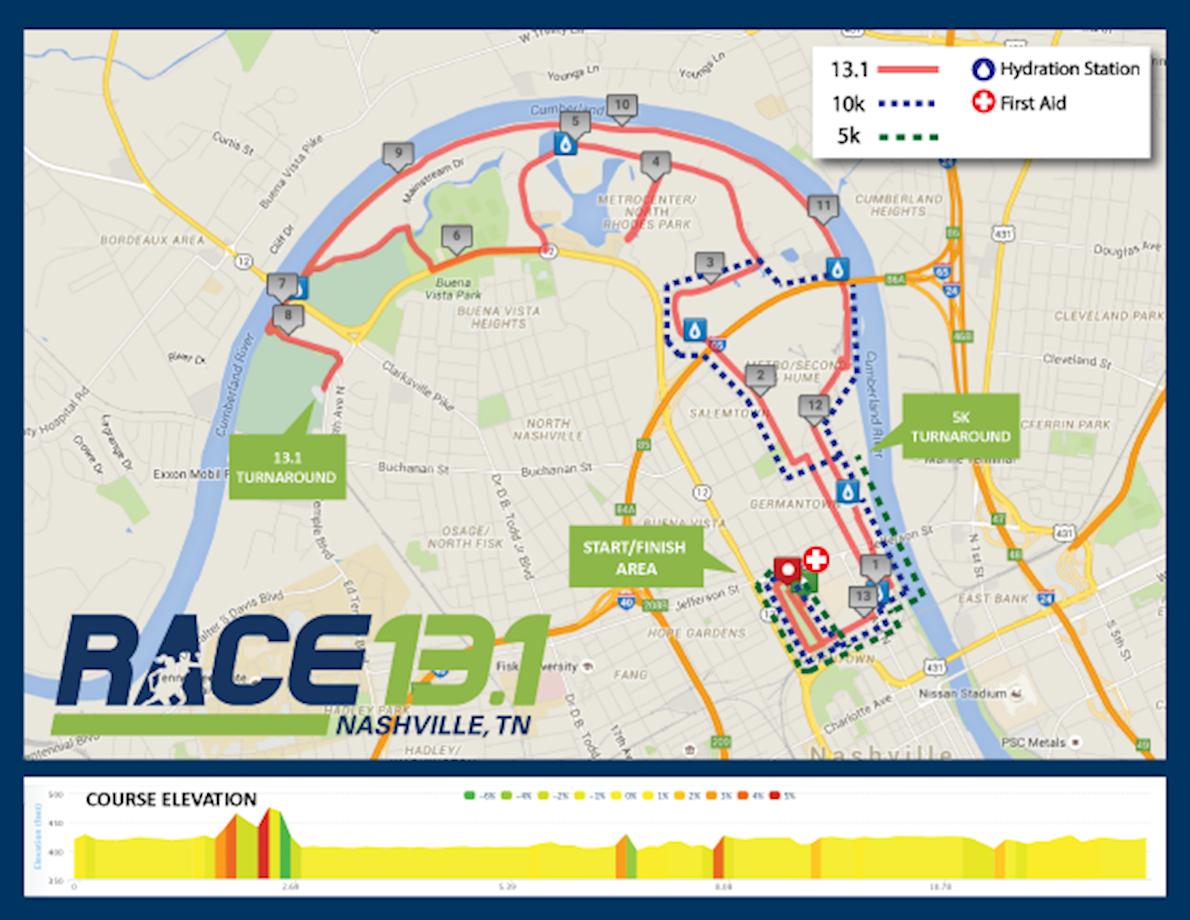 Race 13.1 Nashville, TN Routenkarte