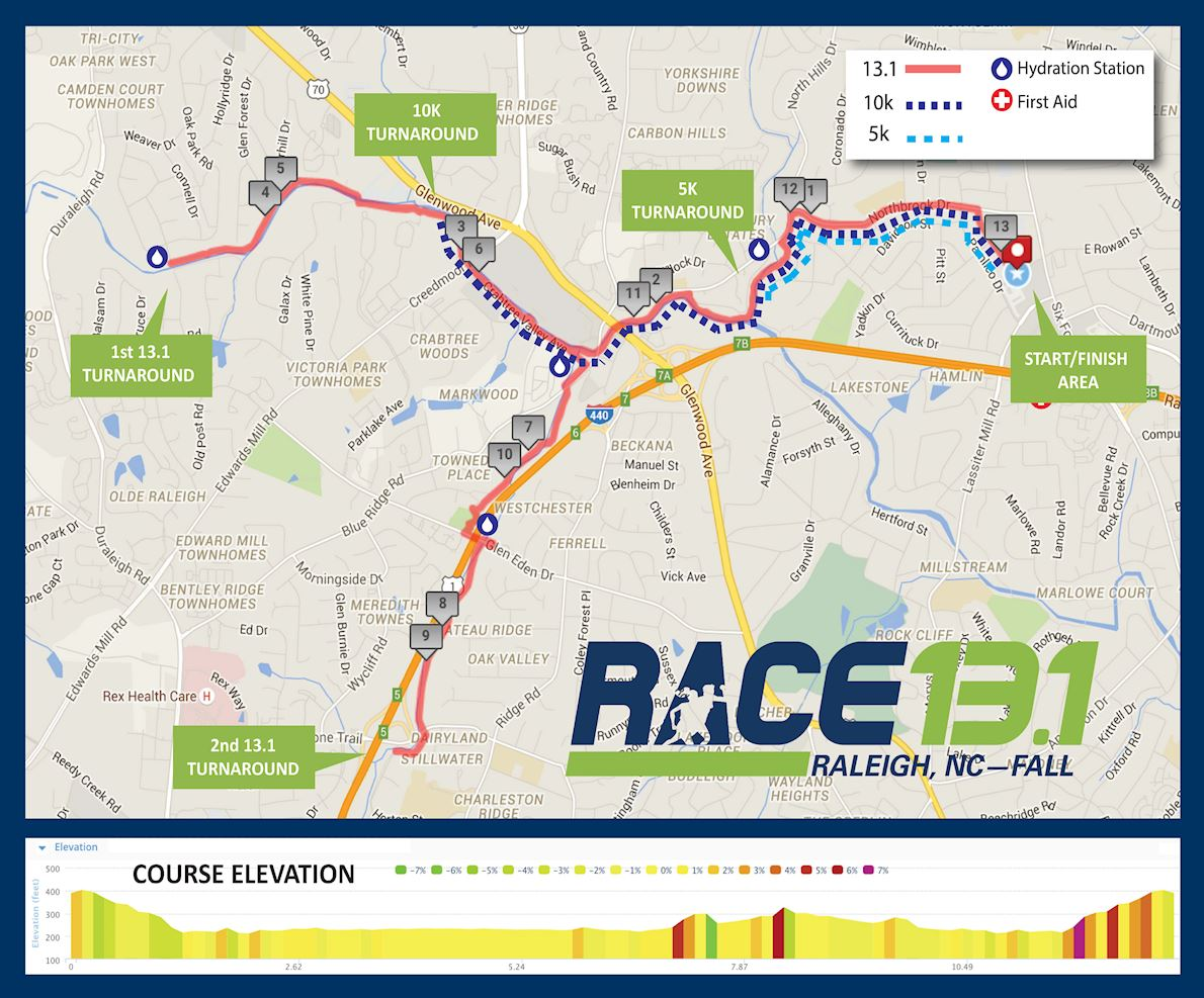 Race 13.1 Raleigh, NC- Fall Route Map