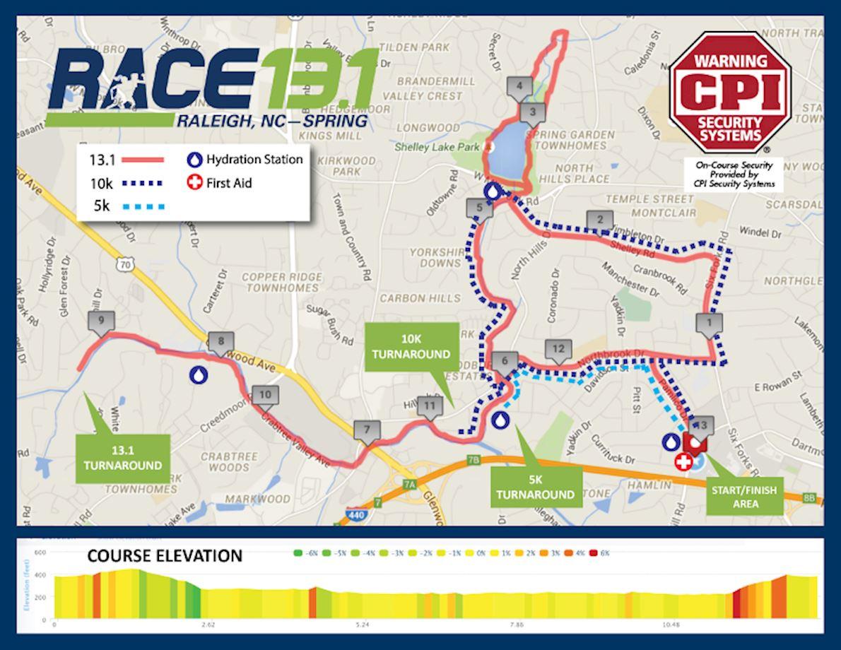 Race 13.1 Raleigh, NC - Spring Routenkarte