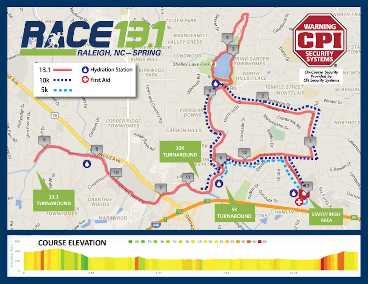 Race 13.1 Raleigh, NC - Spring Route Map