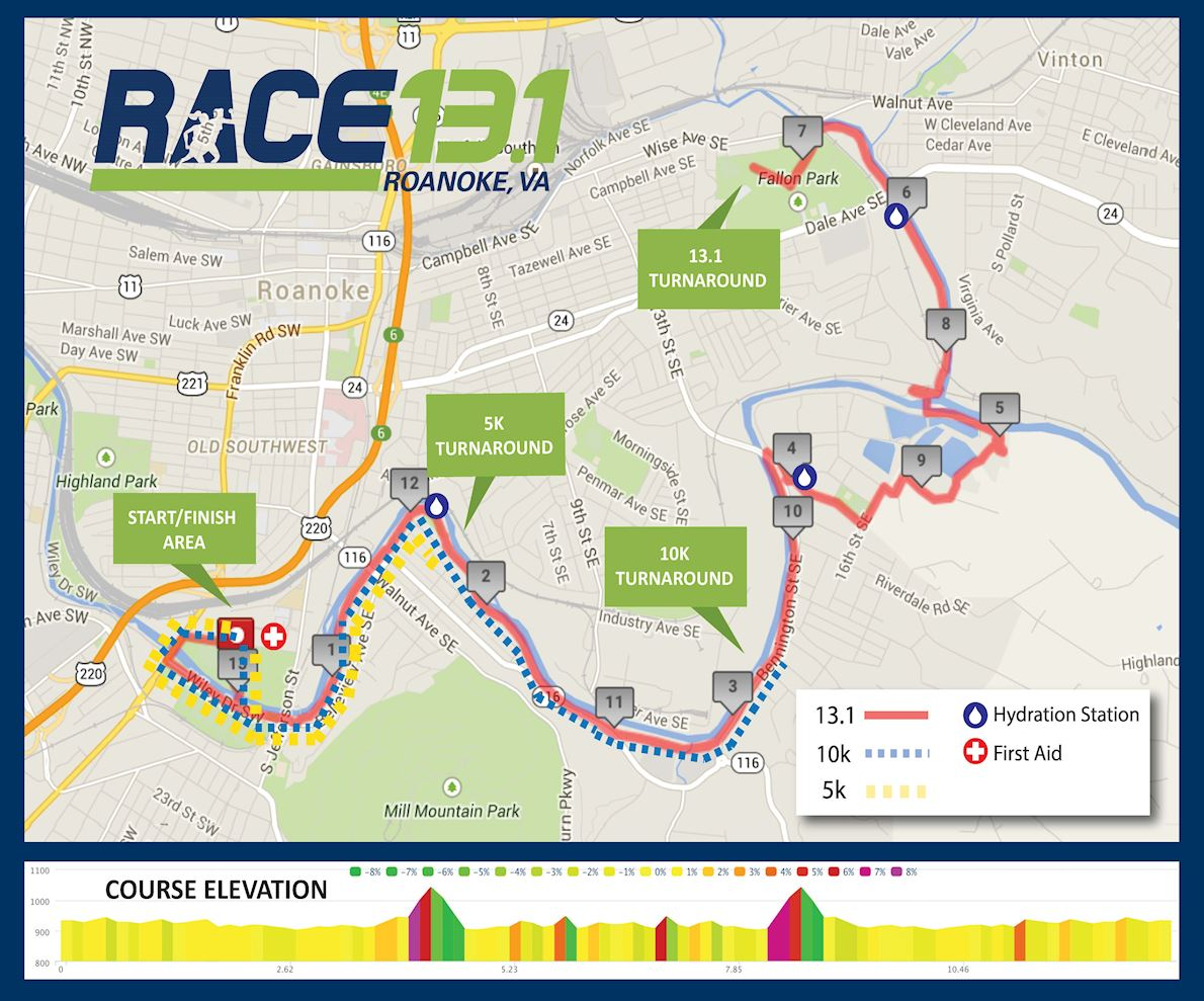 Race 13.1 Roanoke Mappa del percorso