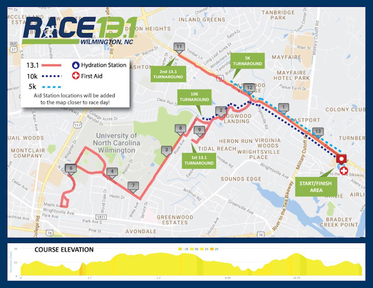 Race 13.1 Wilmington Half Marathon Route Map