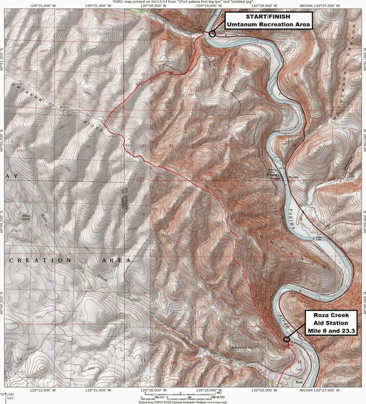 Yakima Skyline Rim 50k Routenkarte