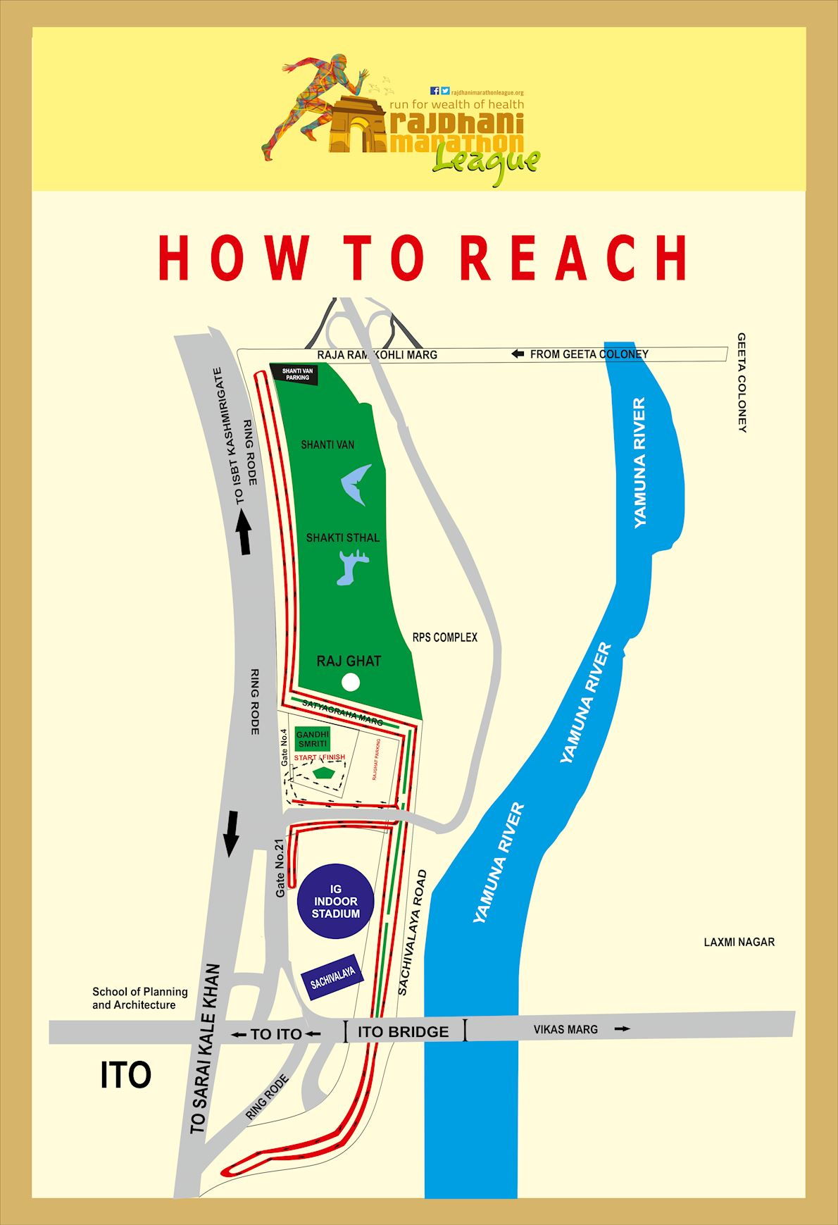 Rajdhani Marathon League Route Map