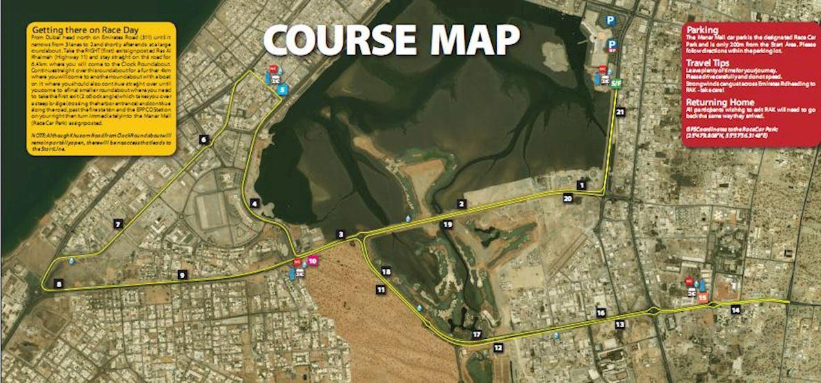 RAK Half Marathon Routenkarte