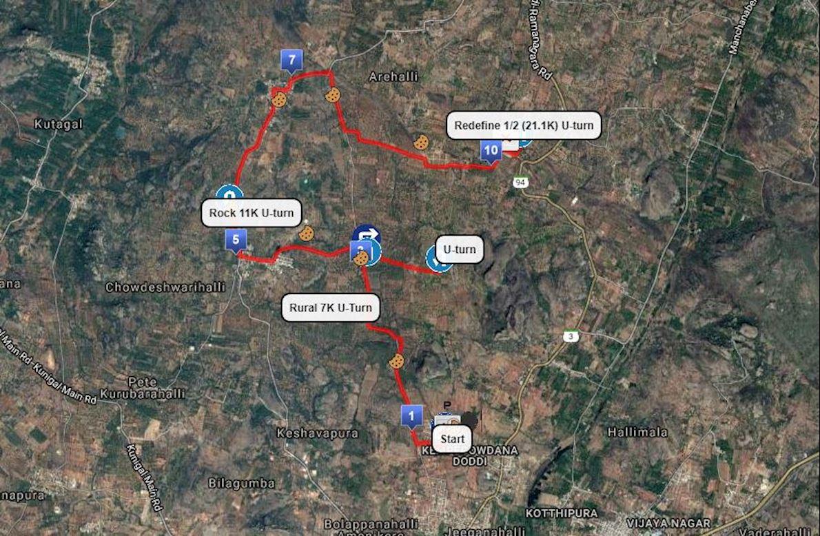 Ramanagara Marathon Routenkarte