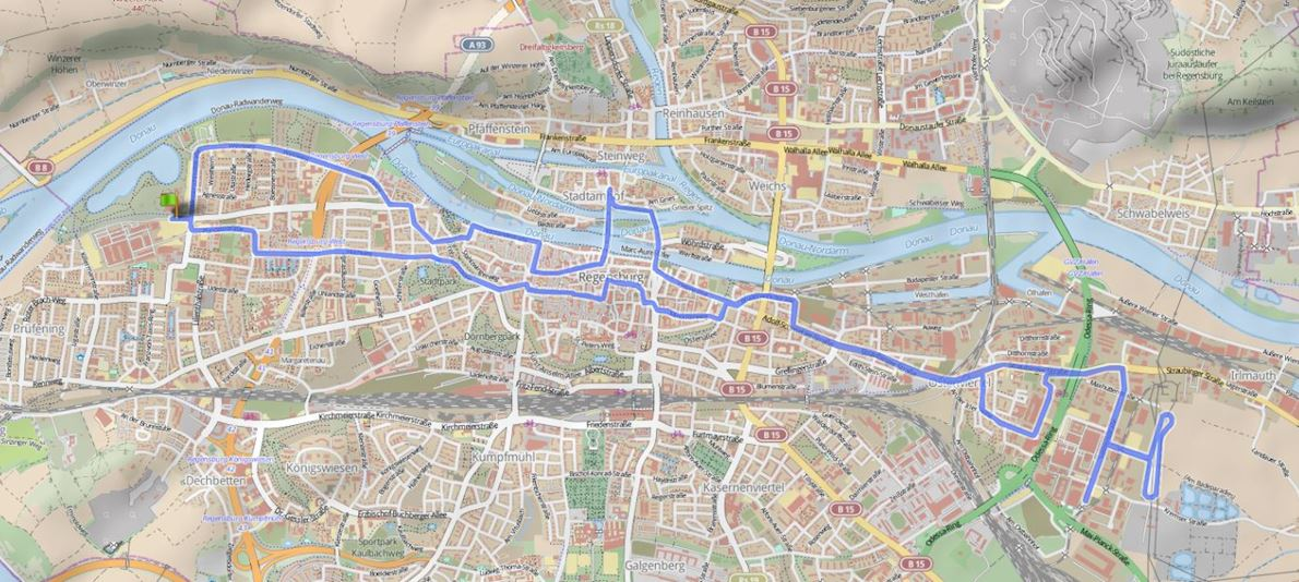 28th Regensburg Marathon Route Map