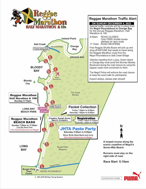 Reggae Marathon Route Map