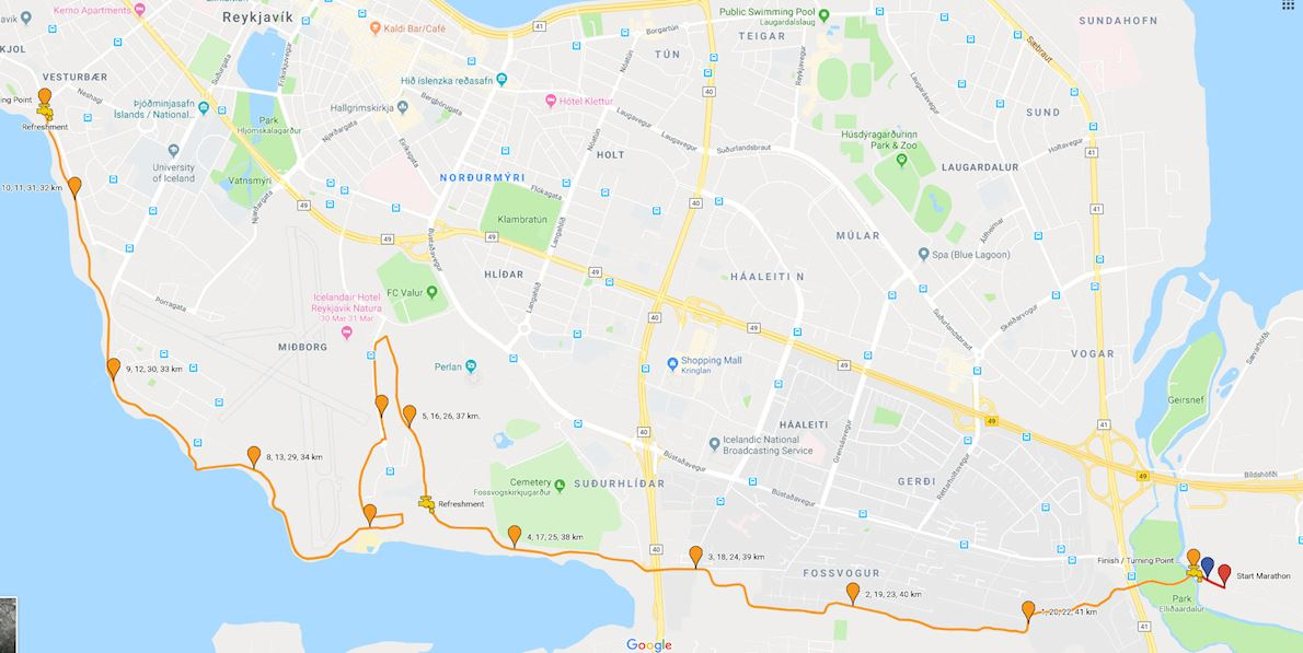 Reykjavik Autumn Marathon Mappa del percorso