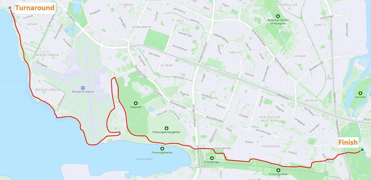 Reykjavik Spring Marathon  Route Map