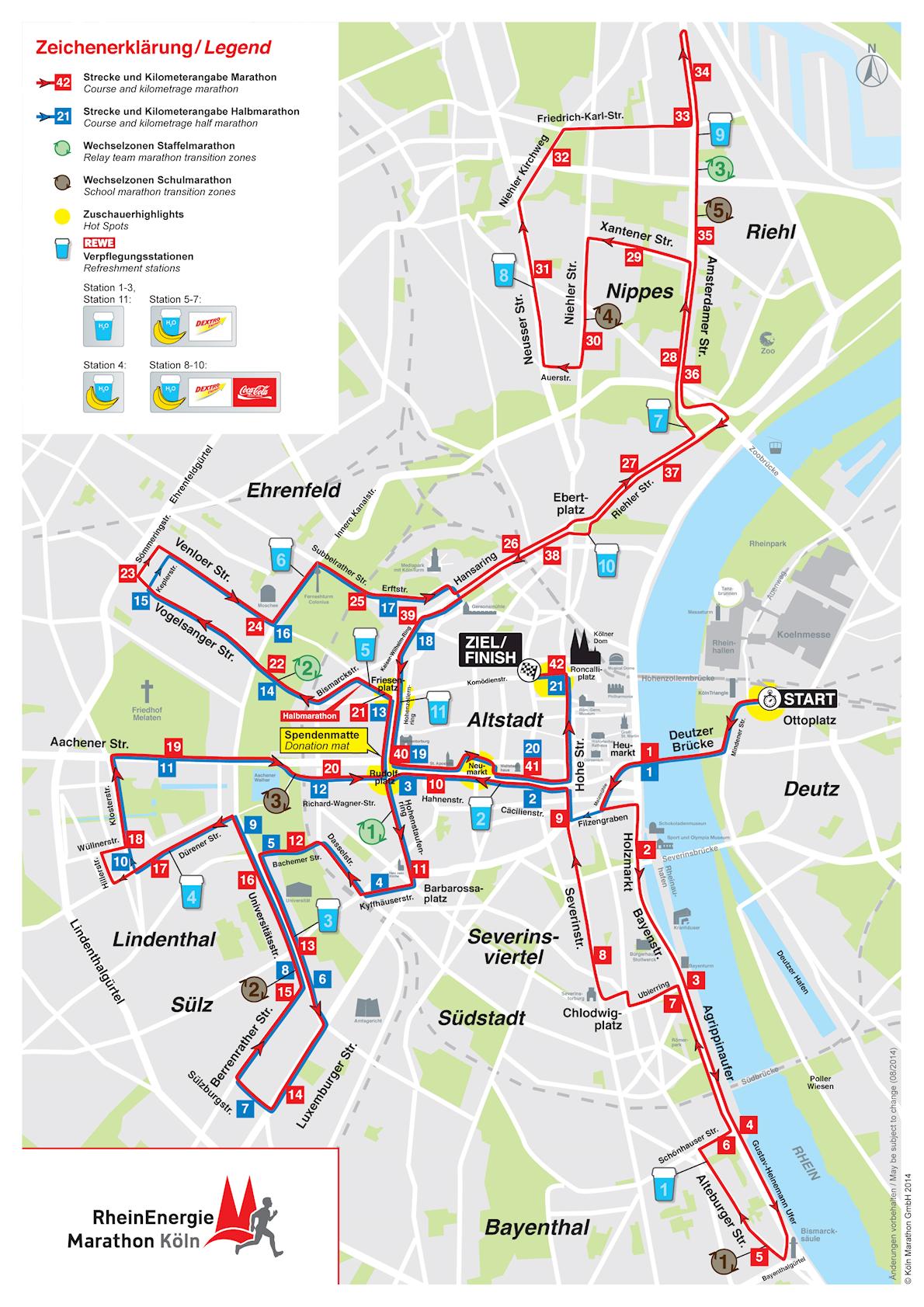 RheinEnergie Marathon Cologne 路线图