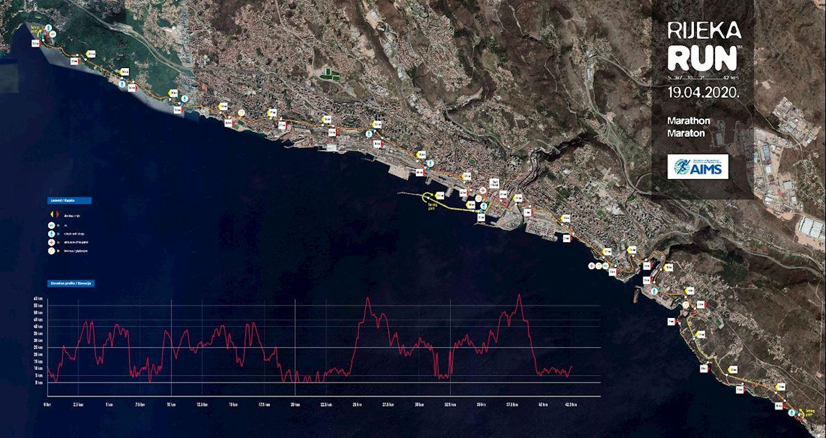 Rijeka Marathon Mappa del percorso
