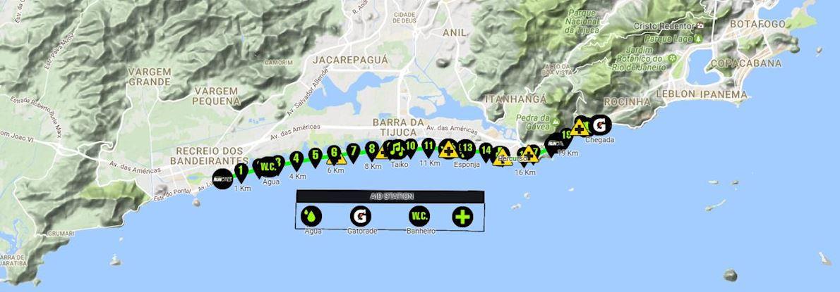 Rio City Half Marathon Routenkarte