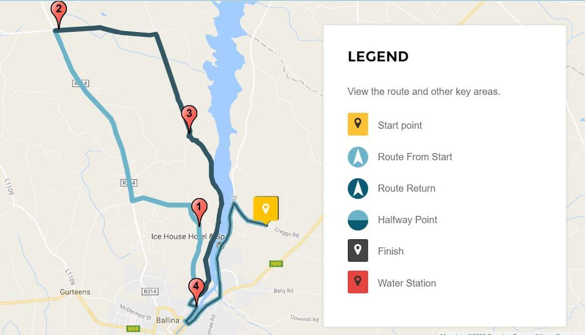 River Moy Half Marathon MAPA DEL RECORRIDO DE