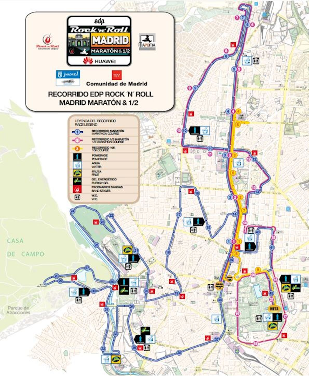 Rock 'n' Roll Madrid Marathon & 1/2 Route Map