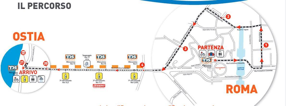 Roma-Ostia Half Marathon Route Map