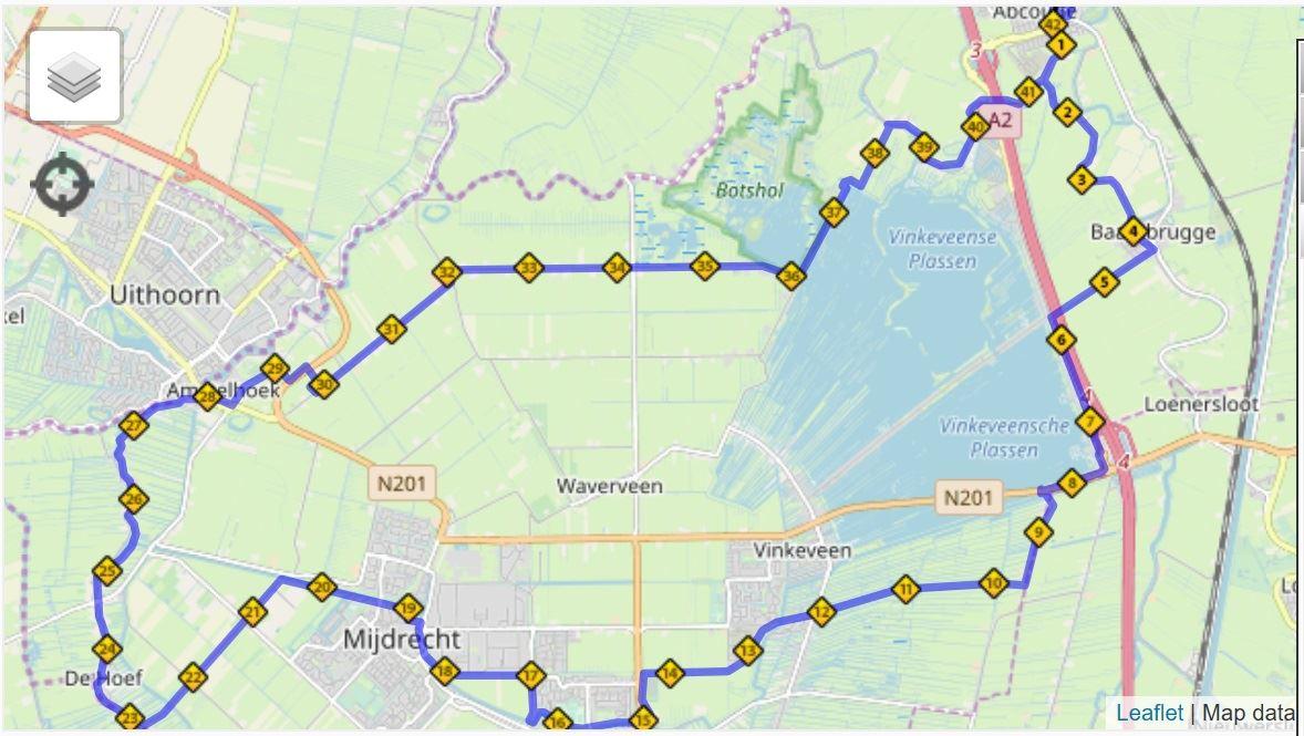 De Ronde Venen Marathon Route Map