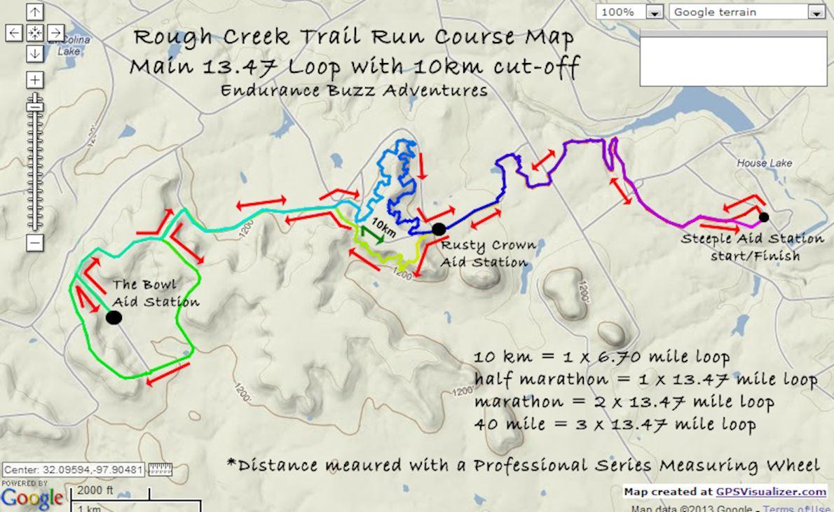 Rough Creek Trail Run Mappa del percorso