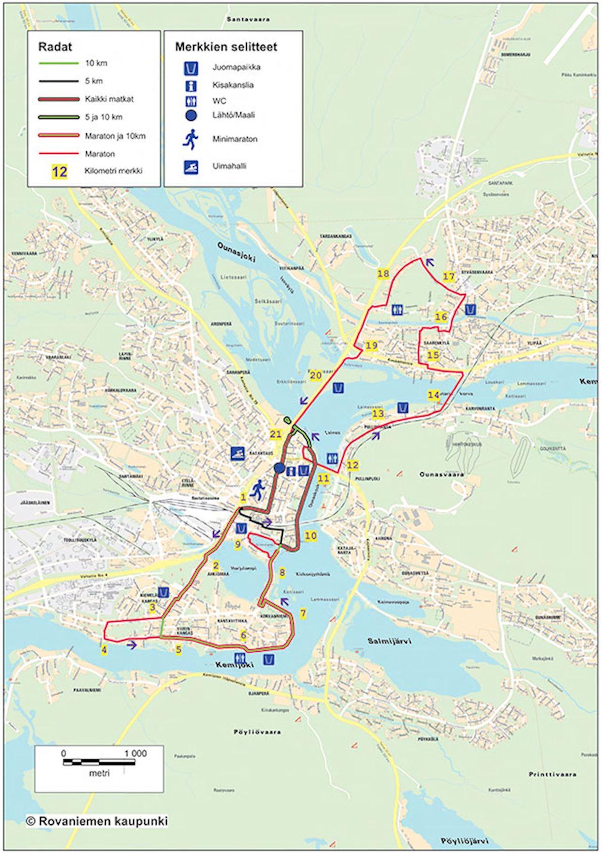 Rovaniemi Marathon Routenkarte