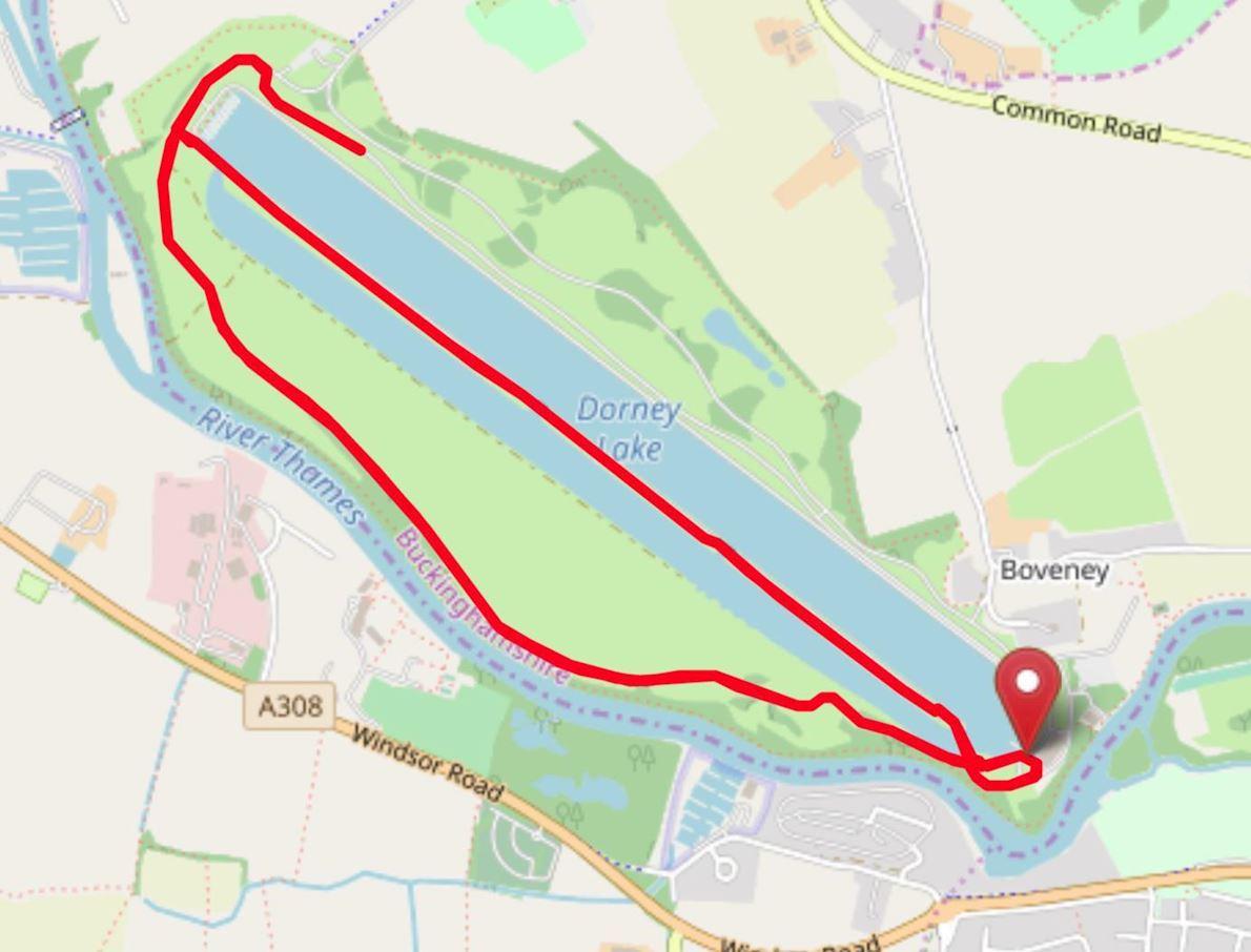 Run Dorney Lake December Routenkarte
