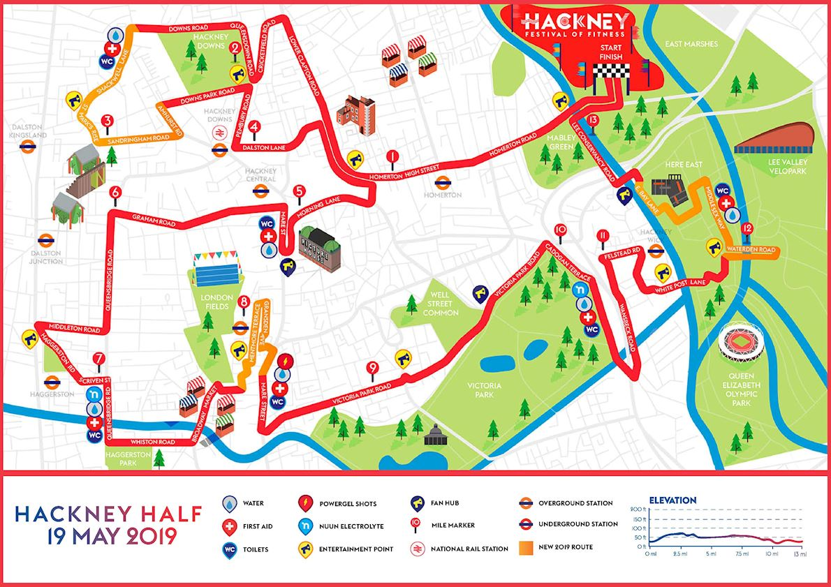 Hackney Half Marathon Route Map